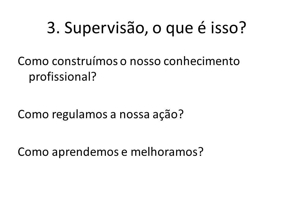 3. Supervisão, o que é isso. Como construímos o nosso conhecimento profissional.