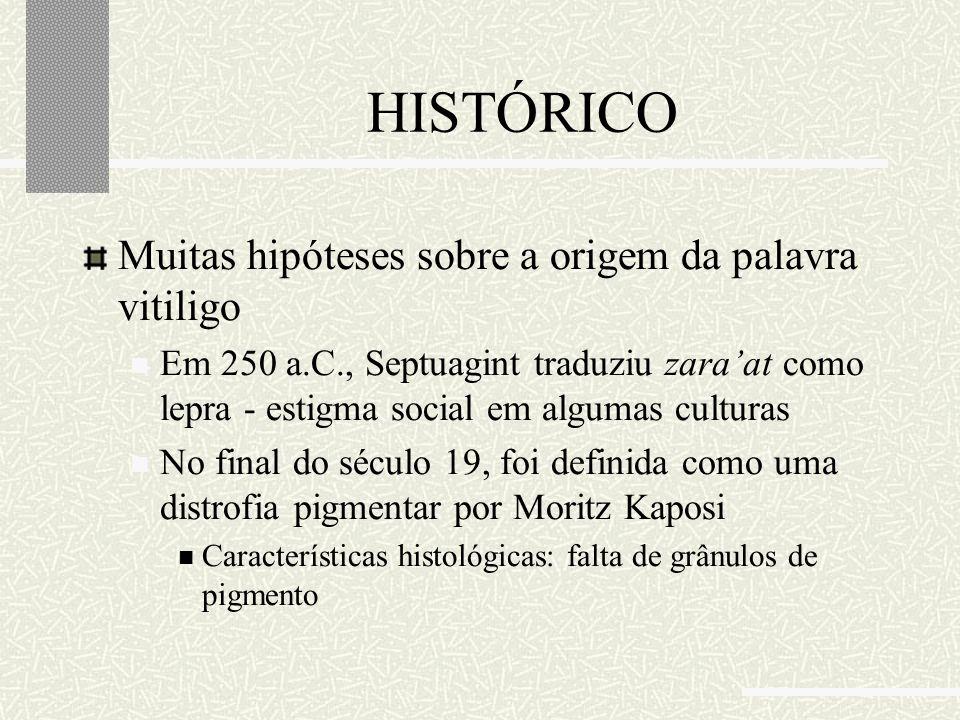 HISTÓRICO Muitas hipóteses sobre a origem da palavra vitiligo Em 250 a.C., Septuagint traduziu zara'at como lepra - estigma social em algumas culturas