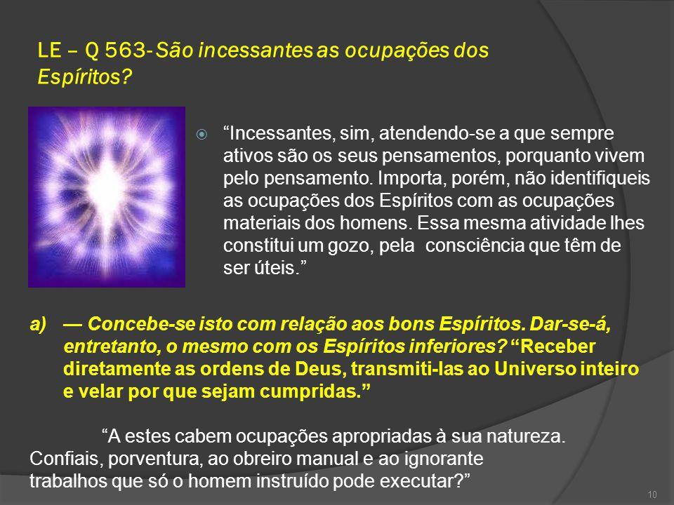 LE – Q 563- São incessantes as ocupações dos Espíritos.