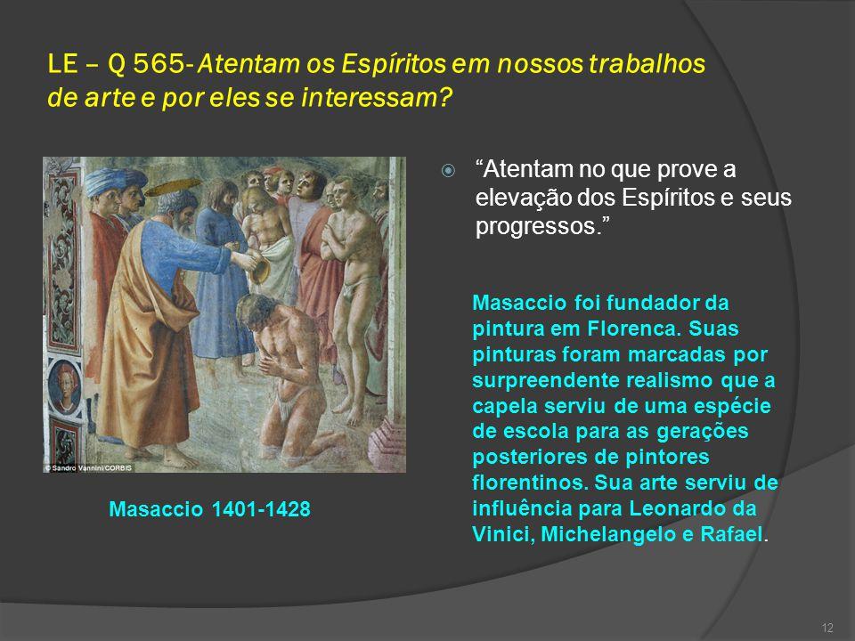 LE – Q 565- Atentam os Espíritos em nossos trabalhos de arte e por eles se interessam.