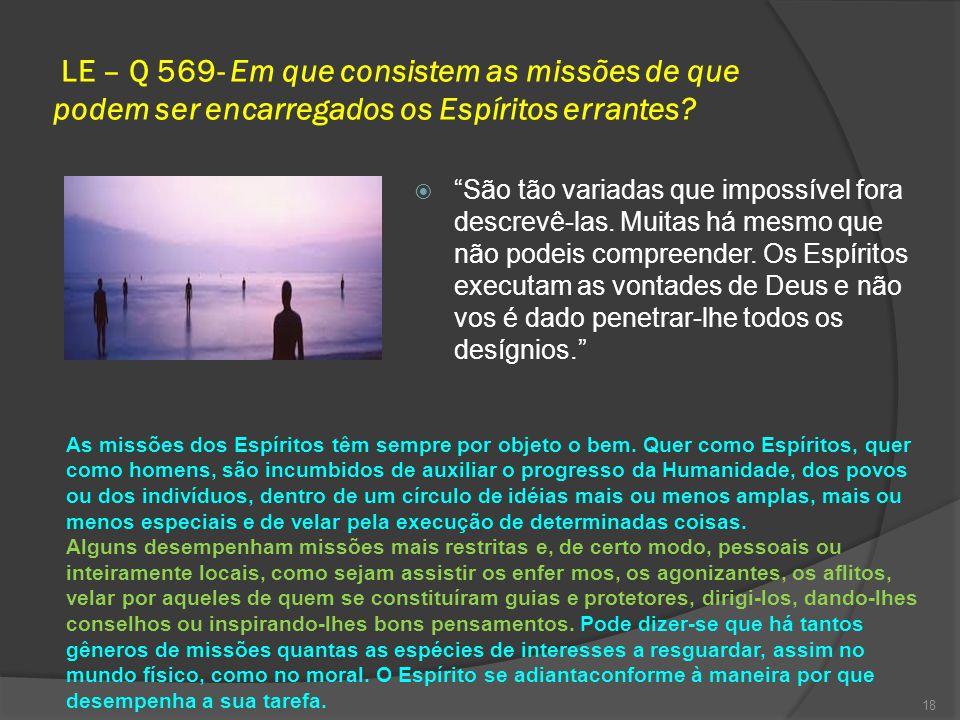 LE – Q 569- Em que consistem as missões de que podem ser encarregados os Espíritos errantes.