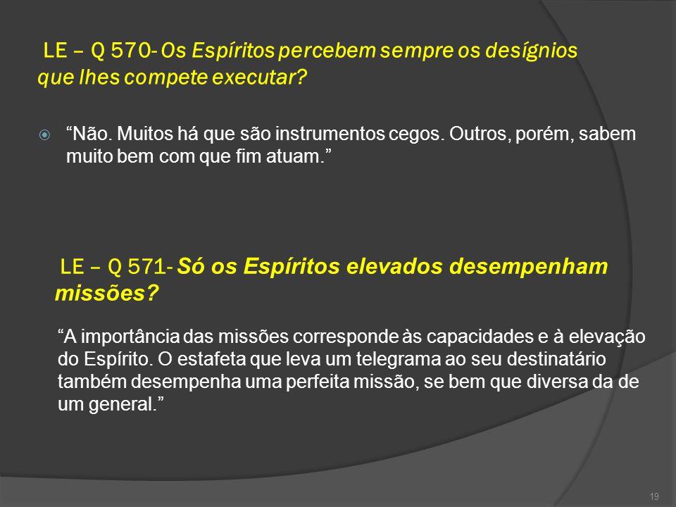 LE – Q 570- Os Espíritos percebem sempre os desígnios que lhes compete executar.