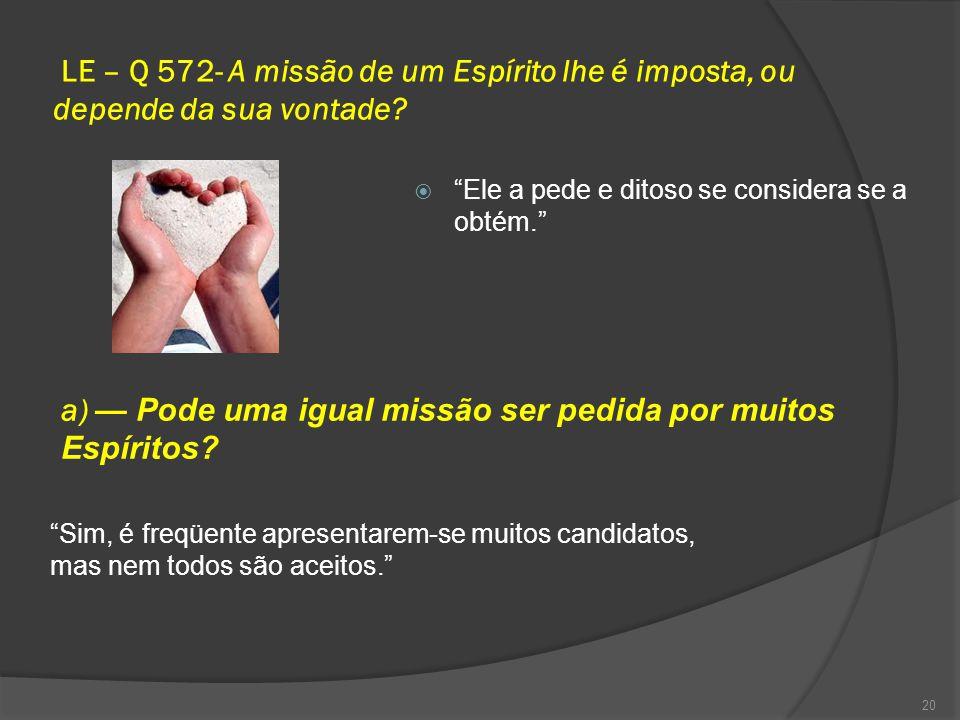 LE – Q 572- A missão de um Espírito lhe é imposta, ou depende da sua vontade.