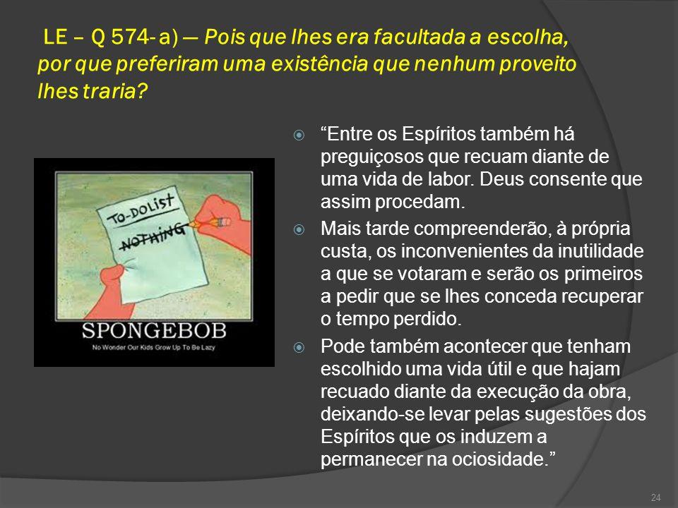 LE – Q 574- a) — Pois que lhes era facultada a escolha, por que preferiram uma existência que nenhum proveito lhes traria.