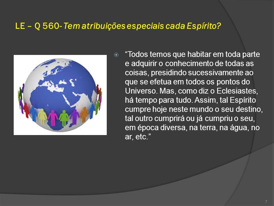 LE – Q 560- Tem atribuições especiais cada Espírito.