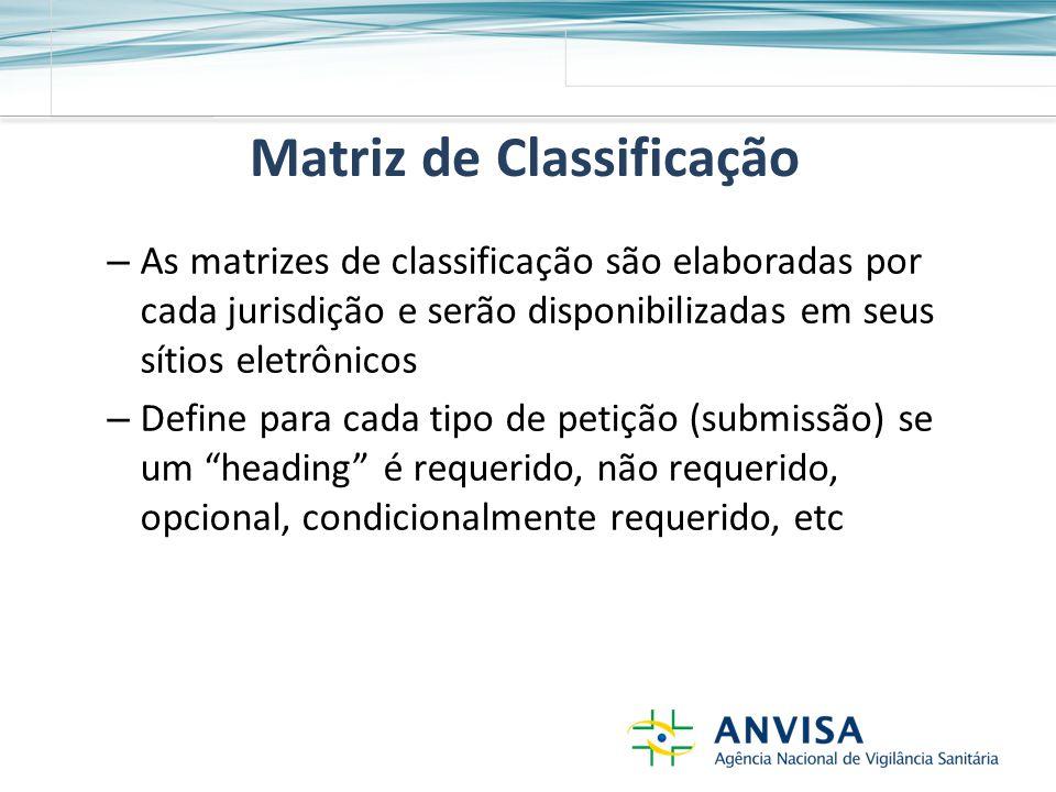 Matriz de Classificação – As matrizes de classificação são elaboradas por cada jurisdição e serão disponibilizadas em seus sítios eletrônicos – Define para cada tipo de petição (submissão) se um heading é requerido, não requerido, opcional, condicionalmente requerido, etc