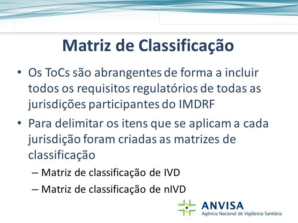 Matriz de Classificação Os ToCs são abrangentes de forma a incluir todos os requisitos regulatórios de todas as jurisdições participantes do IMDRF Para delimitar os itens que se aplicam a cada jurisdição foram criadas as matrizes de classificação – Matriz de classificação de IVD – Matriz de classificação de nIVD