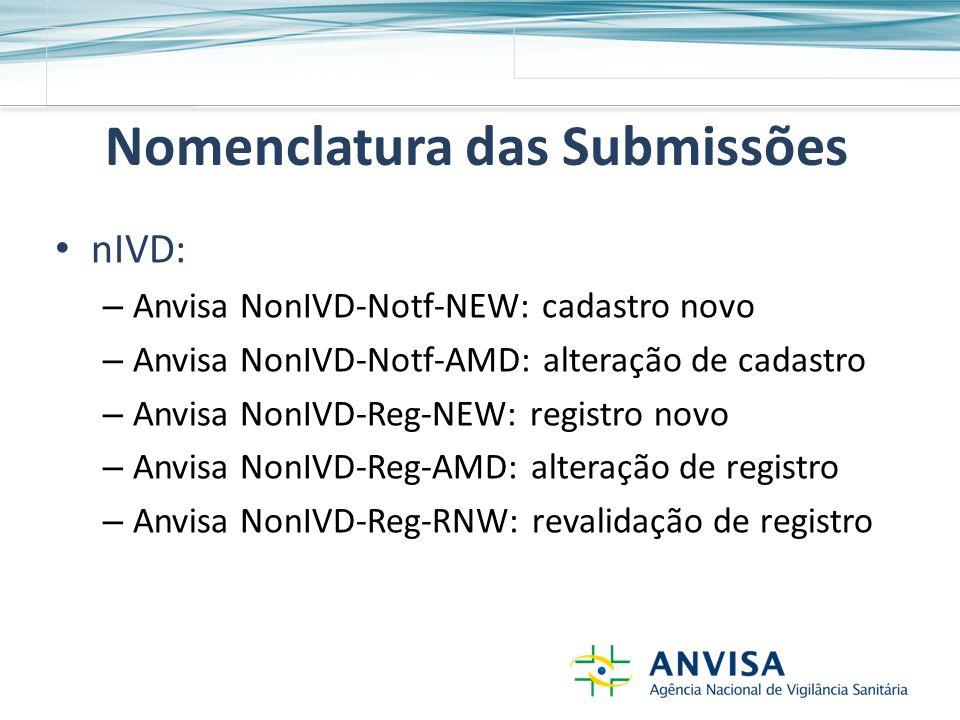Nomenclatura das Submissões nIVD: – Anvisa NonIVD-Notf-NEW: cadastro novo – Anvisa NonIVD-Notf-AMD: alteração de cadastro – Anvisa NonIVD-Reg-NEW: registro novo – Anvisa NonIVD-Reg-AMD: alteração de registro – Anvisa NonIVD-Reg-RNW: revalidação de registro