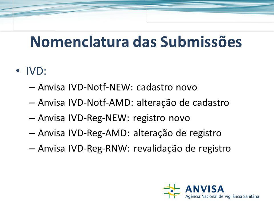 Nomenclatura das Submissões IVD: – Anvisa IVD-Notf-NEW: cadastro novo – Anvisa IVD-Notf-AMD: alteração de cadastro – Anvisa IVD-Reg-NEW: registro novo – Anvisa IVD-Reg-AMD: alteração de registro – Anvisa IVD-Reg-RNW: revalidação de registro