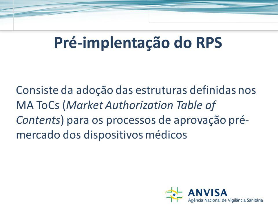 Pré-implentação do RPS Consiste da adoção das estruturas definidas nos MA ToCs (Market Authorization Table of Contents) para os processos de aprovação pré- mercado dos dispositivos médicos