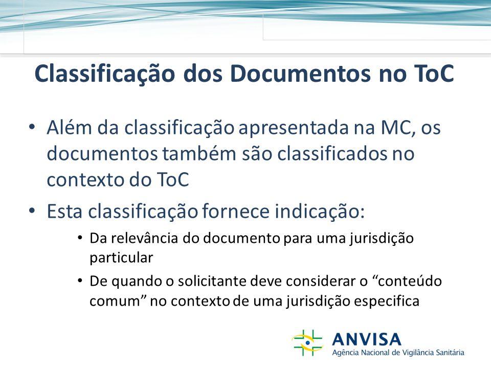 Classificação dos Documentos no ToC Além da classificação apresentada na MC, os documentos também são classificados no contexto do ToC Esta classificação fornece indicação: Da relevância do documento para uma jurisdição particular De quando o solicitante deve considerar o conteúdo comum no contexto de uma jurisdição especifica