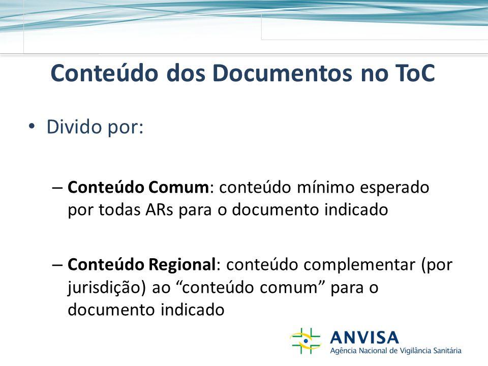 Conteúdo dos Documentos no ToC Divido por: – Conteúdo Comum: conteúdo mínimo esperado por todas ARs para o documento indicado – Conteúdo Regional: conteúdo complementar (por jurisdição) ao conteúdo comum para o documento indicado