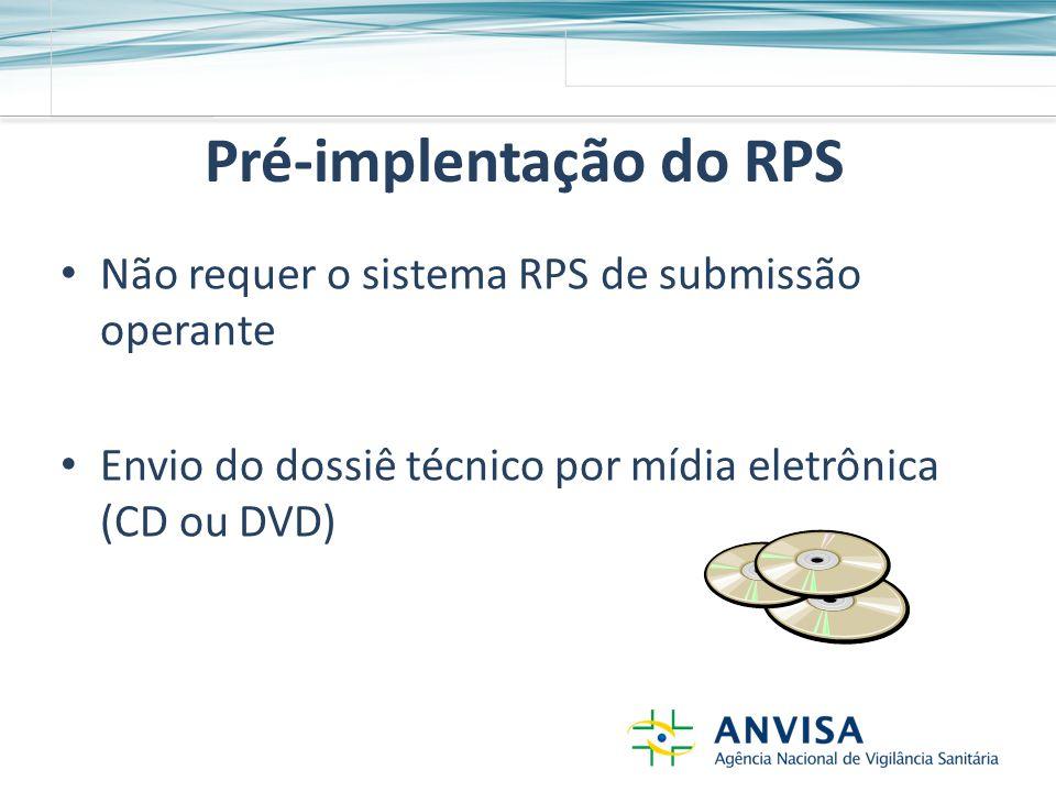 Pré-implentação do RPS Não requer o sistema RPS de submissão operante Envio do dossiê técnico por mídia eletrônica (CD ou DVD)