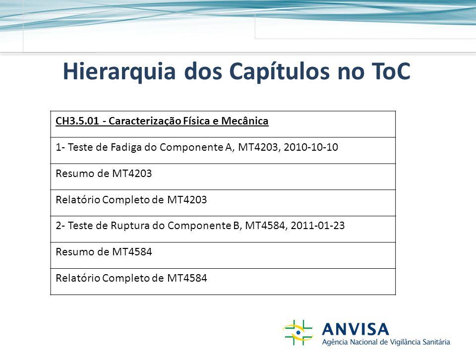 Hierarquia dos Capítulos no ToC CH3.5.01 - Caracterização Física e Mecânica 1- Teste de Fadiga do Componente A, MT4203, 2010-10-10 Resumo de MT4203 Relatório Completo de MT4203 2- Teste de Ruptura do Componente B, MT4584, 2011-01-23 Resumo de MT4584 Relatório Completo de MT4584
