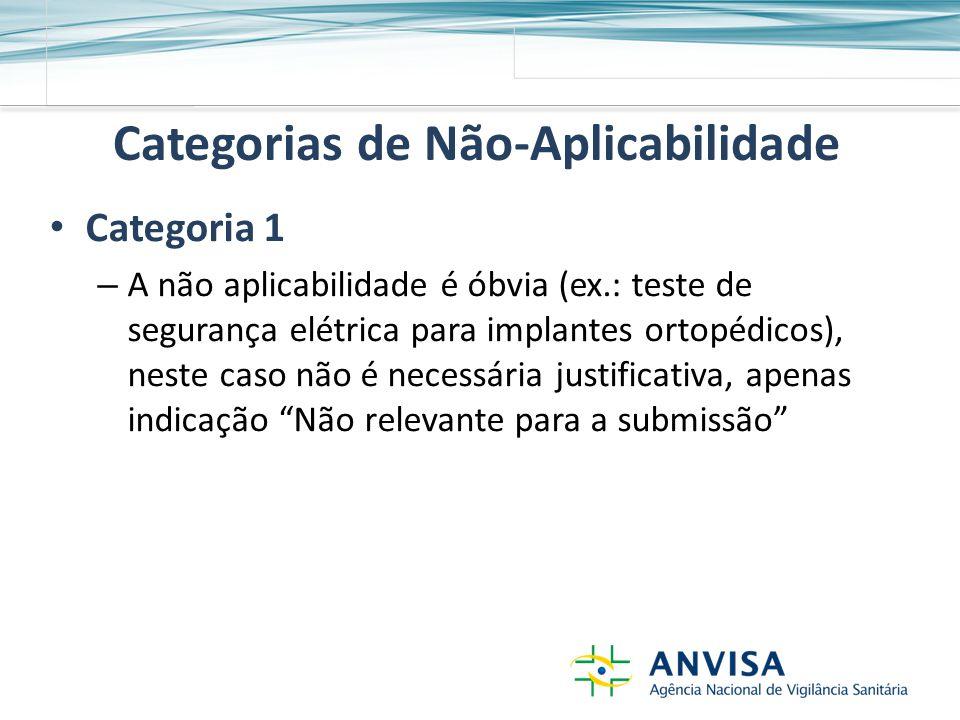 Categorias de Não-Aplicabilidade Categoria 1 – A não aplicabilidade é óbvia (ex.: teste de segurança elétrica para implantes ortopédicos), neste caso não é necessária justificativa, apenas indicação Não relevante para a submissão