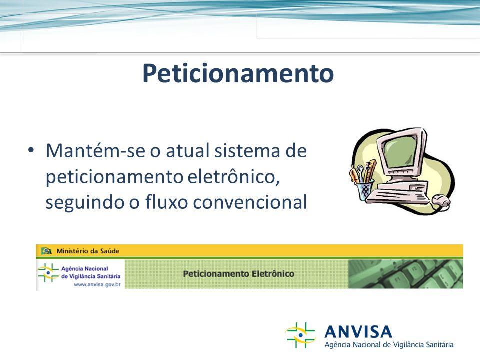 Peticionamento Mantém-se o atual sistema de peticionamento eletrônico, seguindo o fluxo convencional