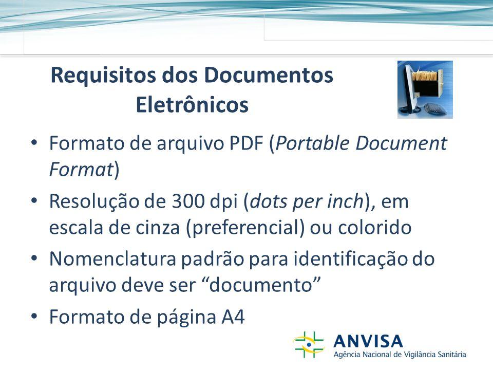 Requisitos dos Documentos Eletrônicos Formato de arquivo PDF (Portable Document Format) Resolução de 300 dpi (dots per inch), em escala de cinza (preferencial) ou colorido Nomenclatura padrão para identificação do arquivo deve ser documento Formato de página A4