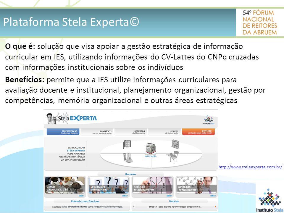 O que é: solução que visa apoiar a gestão estratégica de informação curricular em IES, utilizando informações do CV-Lattes do CNPq cruzadas com informações institucionais sobre os indivíduos Benefícios: permite que a IES utilize informações curriculares para avaliação docente e institucional, planejamento organizacional, gestão por competências, memória organizacional e outras áreas estratégicas Plataforma Stela Experta© http://www.stelaexperta.com.br/