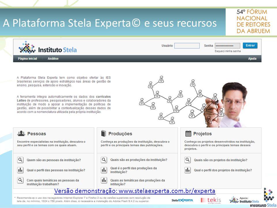 Versão demonstração: www.stelaexperta.com.br/experta A Plataforma Stela Experta© e seus recursos