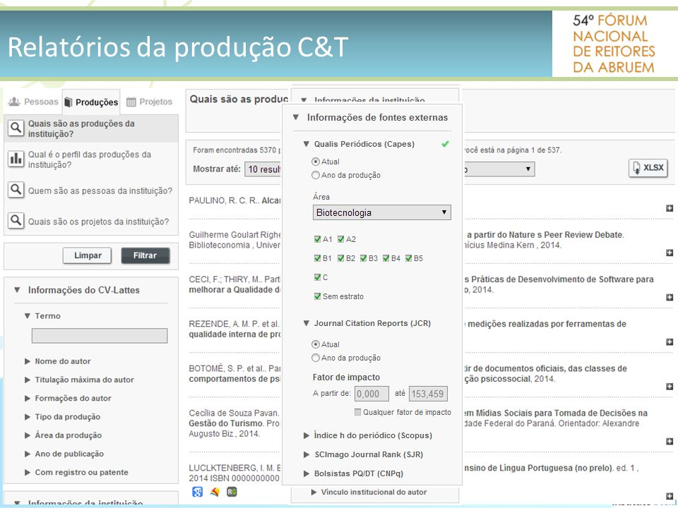 Relatórios da produção C&T