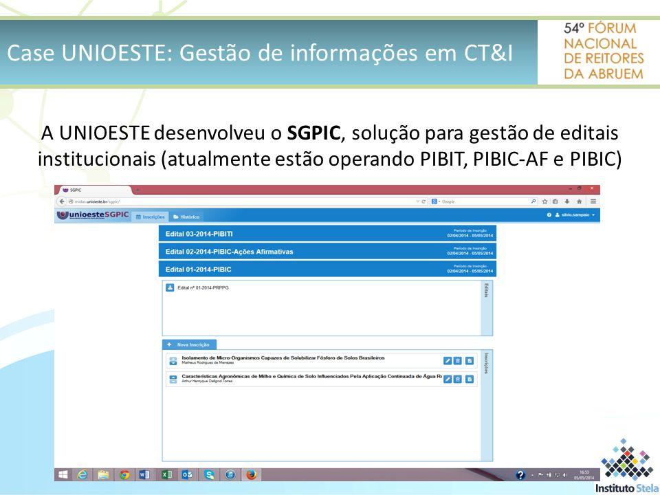 Case UNIOESTE: Gestão de informações em CT&I A UNIOESTE desenvolveu o SGPIC, solução para gestão de editais institucionais (atualmente estão operando PIBIT, PIBIC-AF e PIBIC)