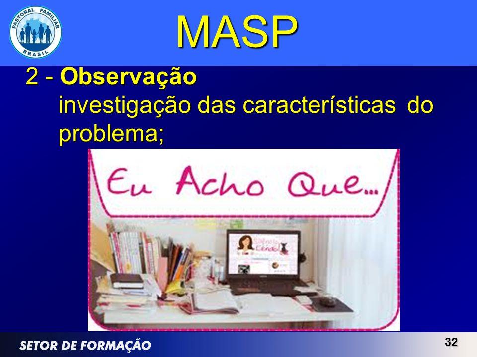 3232 MASP 2 - Observação investigação das características do problema;