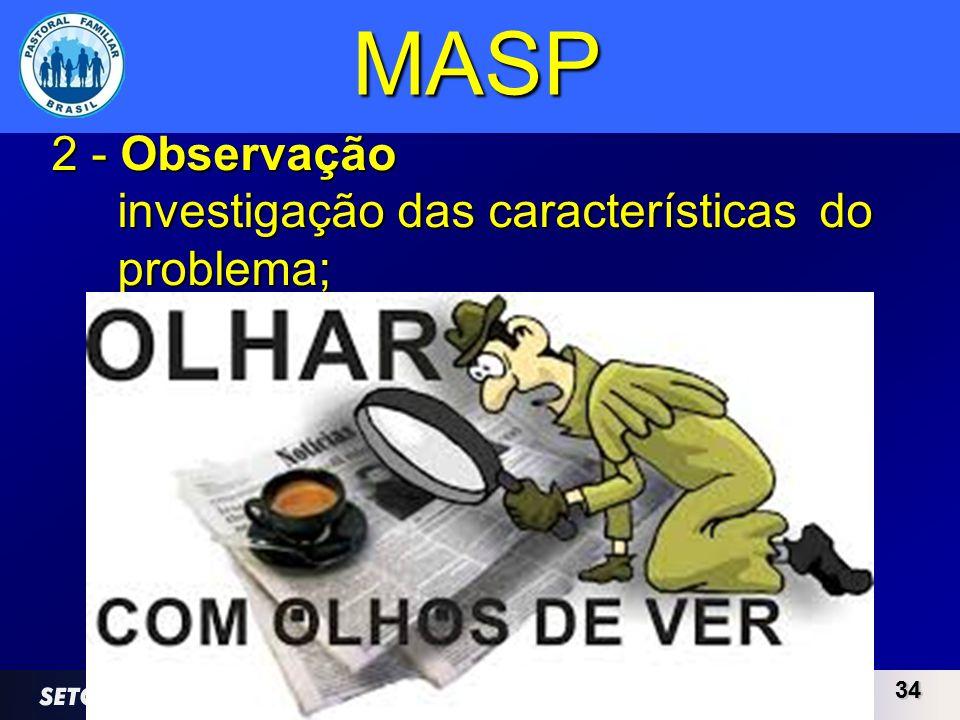 3434 MASP 2 - Observação investigação das características do problema;