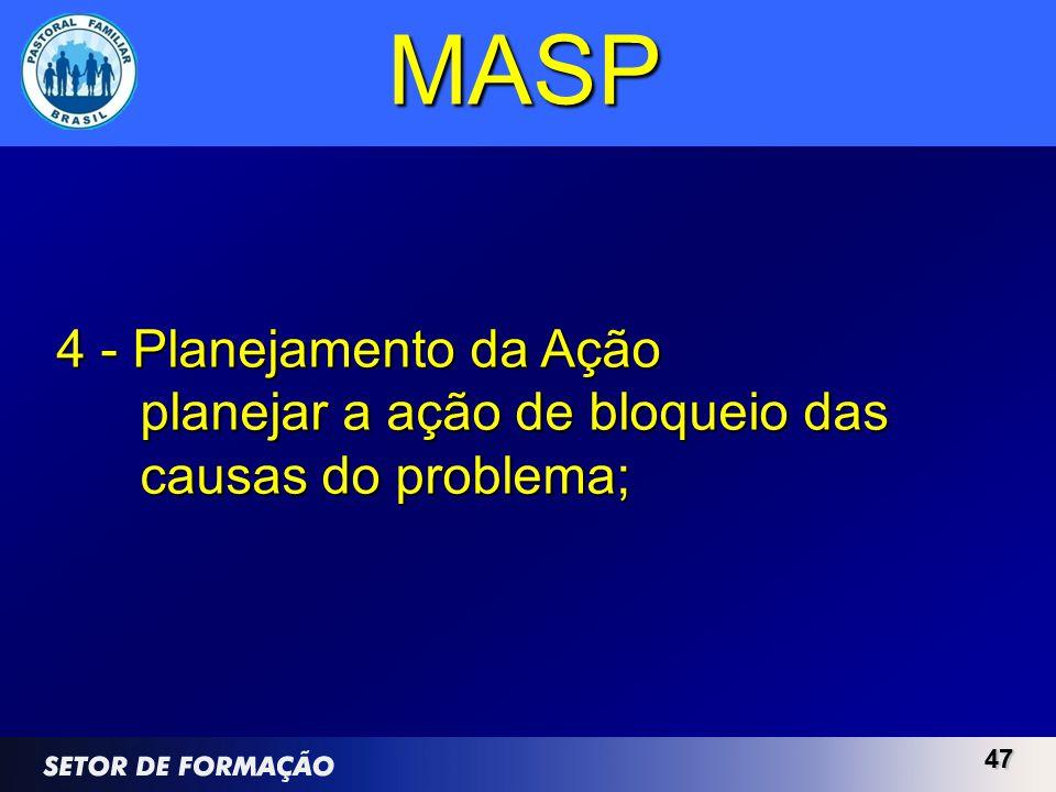 4747 MASP 4 - Planejamento da Ação planejar a ação de bloqueio das causas do problema;