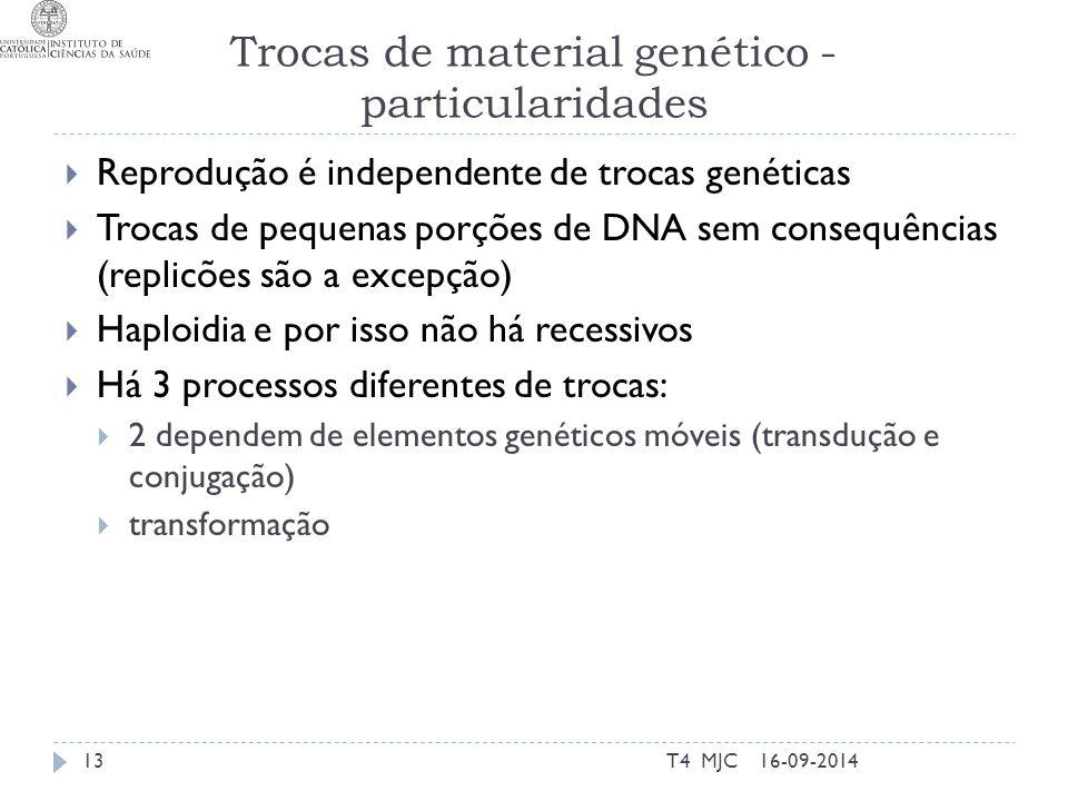 Trocas de material genético - particularidades 16-09-2014T4 MJC13  Reprodução é independente de trocas genéticas  Trocas de pequenas porções de DNA