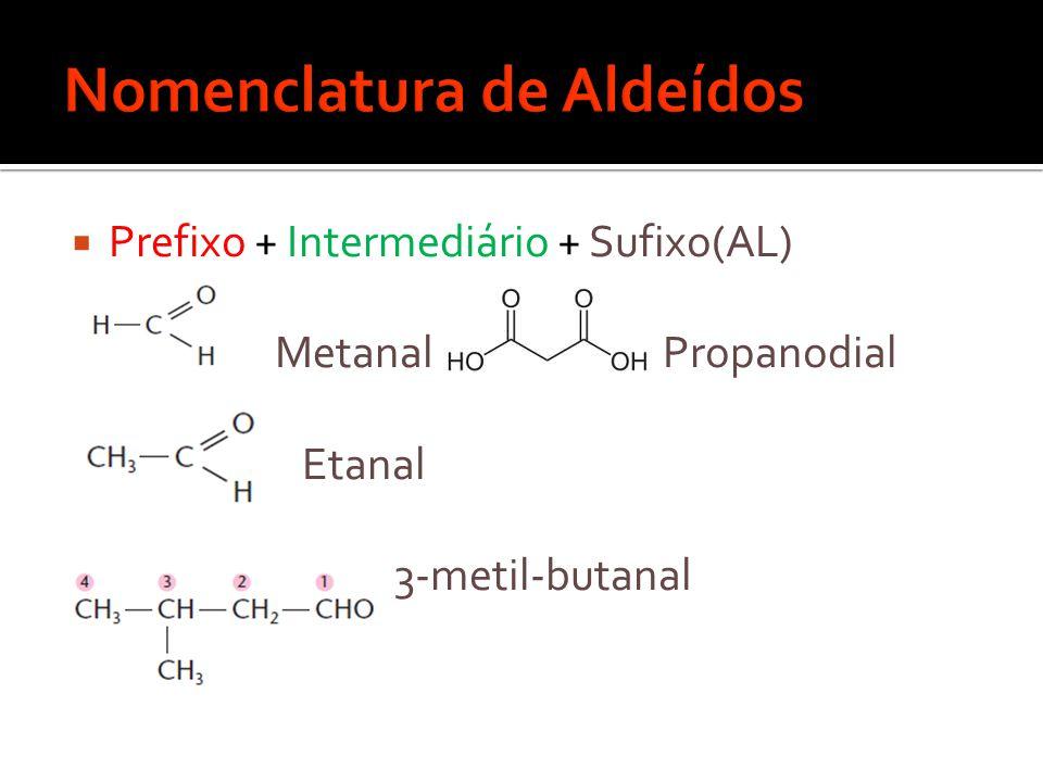  Prefixo + Intermediário + Sufixo(AL) Metanal Propanodial Etanal 3-metil-butanal