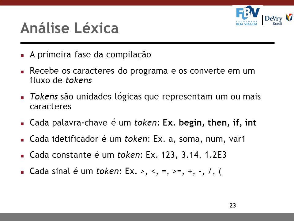 23 Análise Léxica n A primeira fase da compilação n Recebe os caracteres do programa e os converte em um fluxo de tokens n Tokens são unidades lógicas