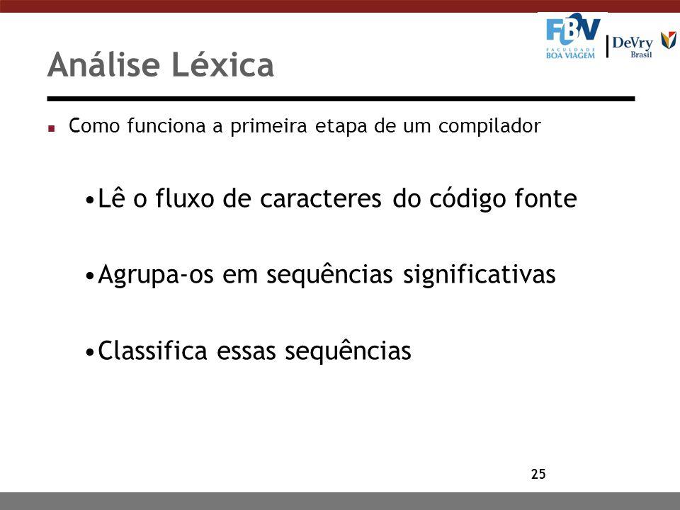 25 Análise Léxica n Como funciona a primeira etapa de um compilador Lê o fluxo de caracteres do código fonte Agrupa-os em sequências significativas Cl