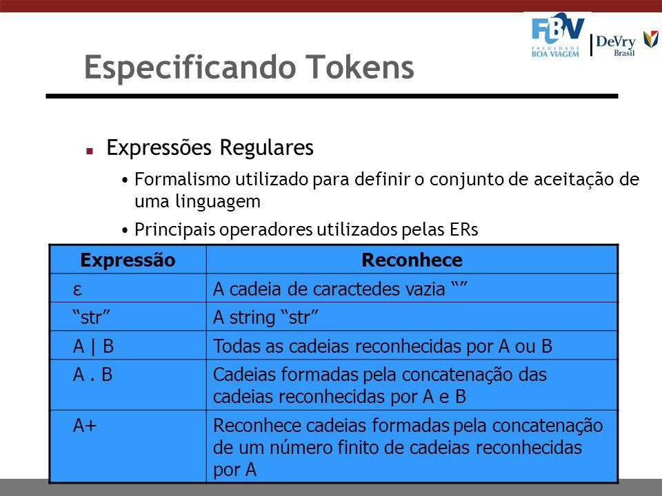 30 Especificando Tokens n Expressões Regulares Formalismo utilizado para definir o conjunto de aceitação de uma linguagem Principais operadores utiliz
