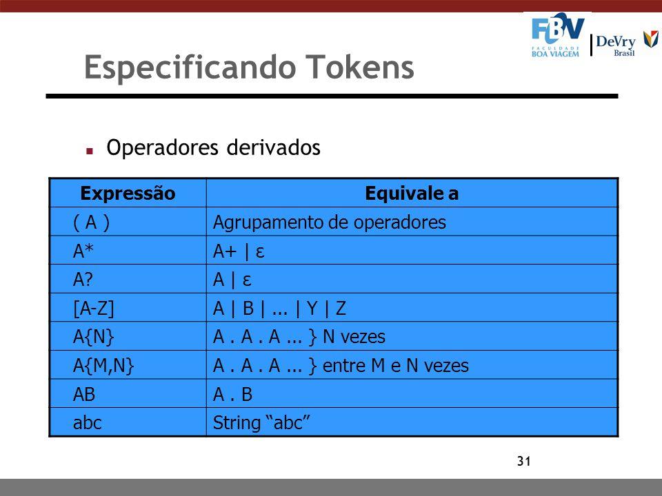 31 Especificando Tokens n Operadores derivados ExpressãoEquivale a ( A )Agrupamento de operadores A*A+ | ε A?A | ε [A-Z]A | B |... | Y | Z A{N}A. A. A