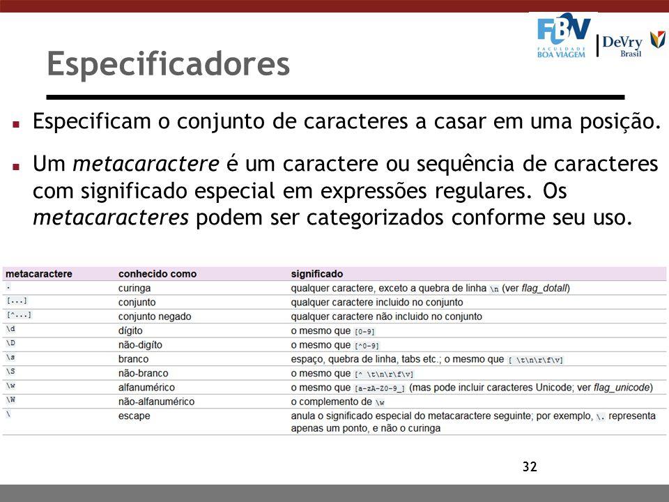 32 Especificadores n Especificam o conjunto de caracteres a casar em uma posição. n Um metacaractere é um caractere ou sequência de caracteres com sig