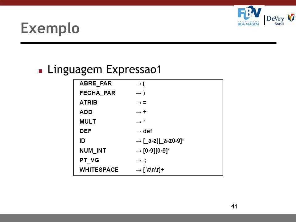 41 Exemplo n Linguagem Expressao1 ABRE_PAR → ( FECHA_PAR → ) ATRIB → = ADD → + MULT → * DEF → def ID → [_a-z][_a-z0-9]* NUM_INT → [0-9][0-9]* PT_VG →