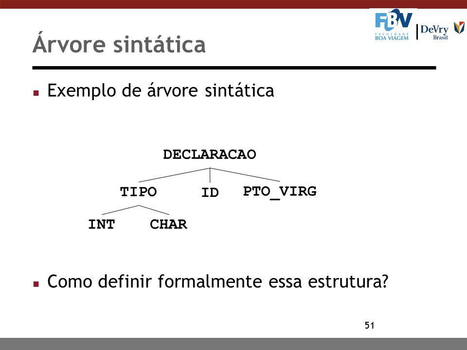 51 Árvore sintática n Exemplo de árvore sintática n Como definir formalmente essa estrutura? DECLARACAO PTO_VIRG TIPO ID INTCHAR