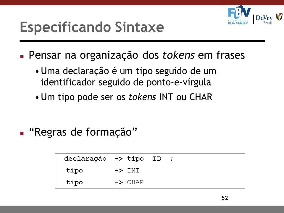 52 Especificando Sintaxe n Pensar na organização dos tokens em frases Uma declaração é um tipo seguido de um identificador seguido de ponto-e-vírgula