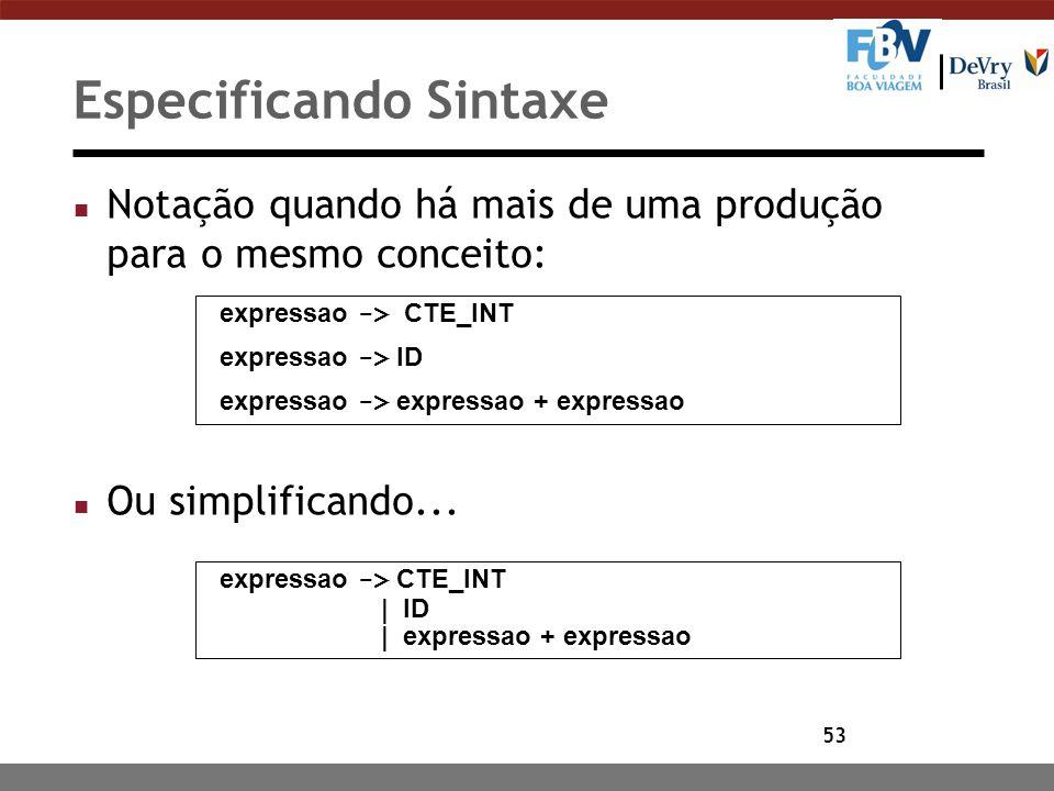 53 Especificando Sintaxe n Notação quando há mais de uma produção para o mesmo conceito: n Ou simplificando... expressao -> CTE_INT expressao -> ID ex