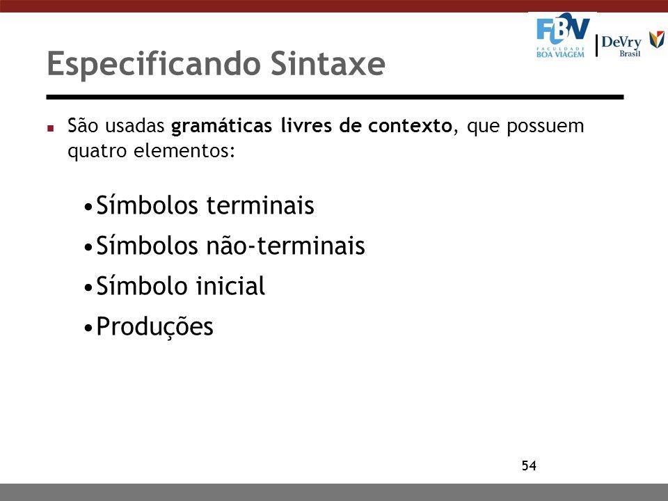54 Especificando Sintaxe n São usadas gramáticas livres de contexto, que possuem quatro elementos: Símbolos terminais Símbolos não-terminais Símbolo i