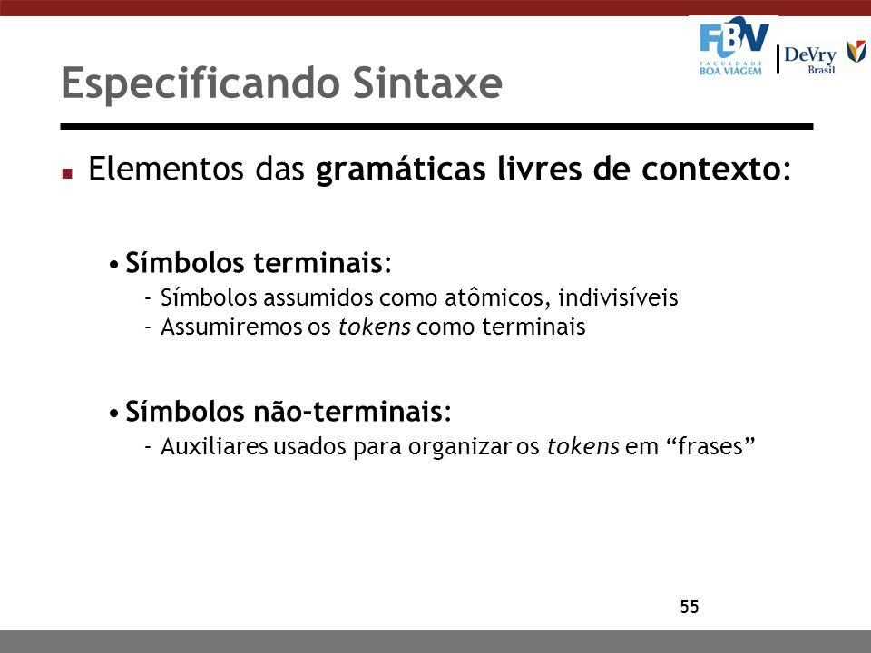55 Especificando Sintaxe n Elementos das gramáticas livres de contexto: Símbolos terminais: -Símbolos assumidos como atômicos, indivisíveis -Assumirem