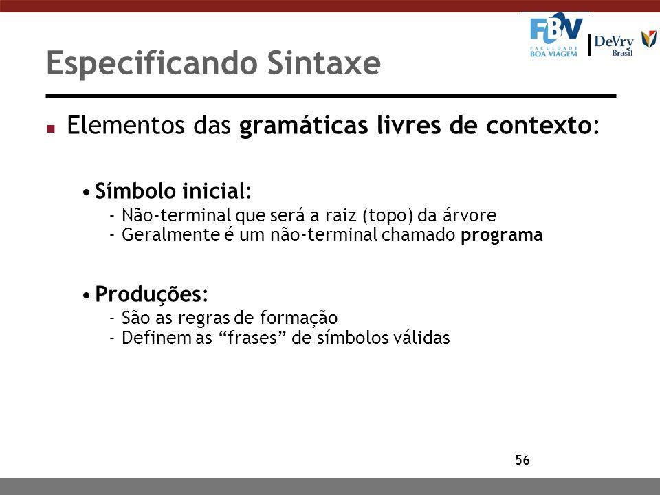 56 Especificando Sintaxe n Elementos das gramáticas livres de contexto: Símbolo inicial: -Não-terminal que será a raiz (topo) da árvore -Geralmente é