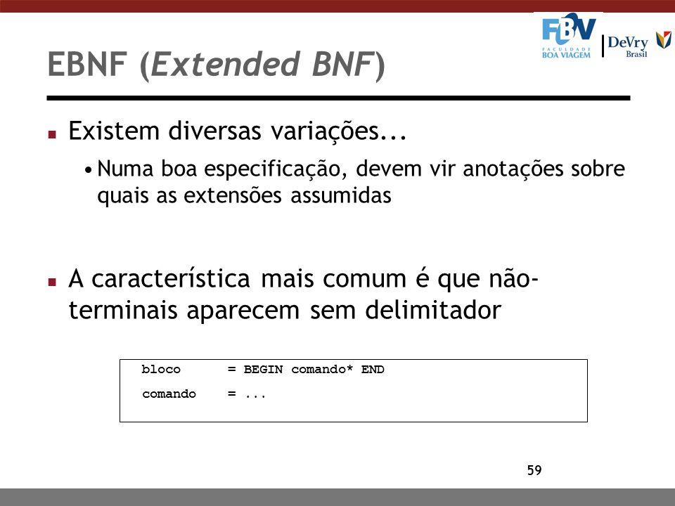 59 EBNF (Extended BNF) n Existem diversas variações... Numa boa especificação, devem vir anotações sobre quais as extensões assumidas n A característi