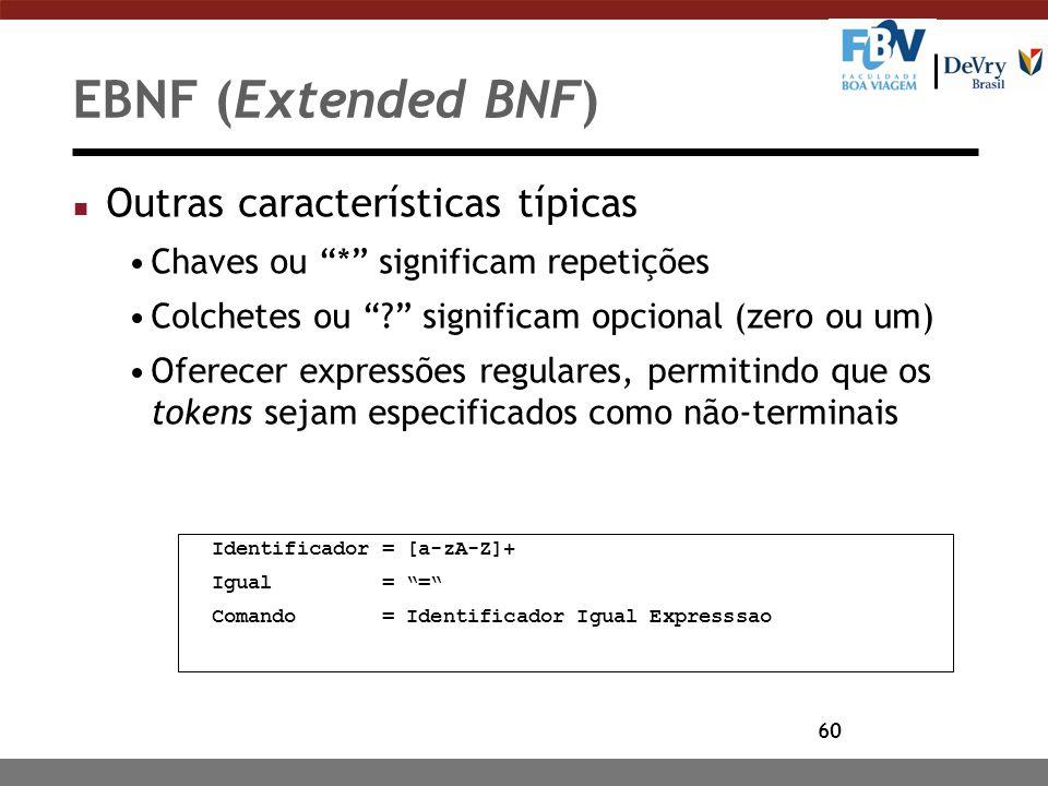 """60 EBNF (Extended BNF) n Outras características típicas Chaves ou """"*"""" significam repetições Colchetes ou """"?"""" significam opcional (zero ou um) Oferecer"""