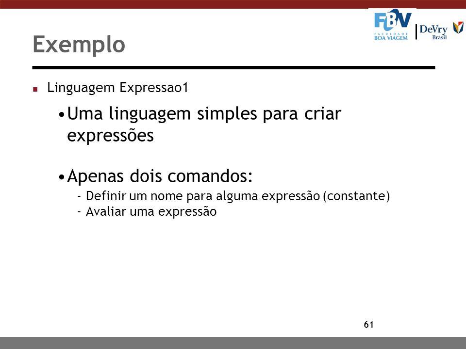 61 Exemplo n Linguagem Expressao1 Uma linguagem simples para criar expressões Apenas dois comandos: -Definir um nome para alguma expressão (constante)