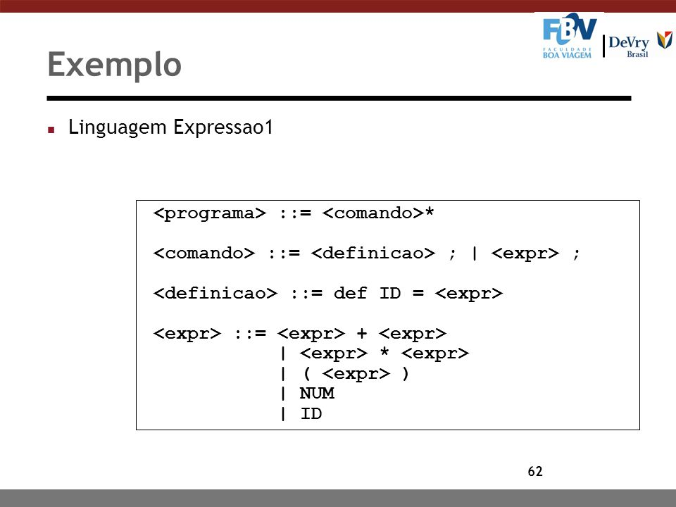 62 Exemplo n Linguagem Expressao1 ::= * ::= ; | ; ::= def ID = ::= + | * | ( ) | NUM | ID