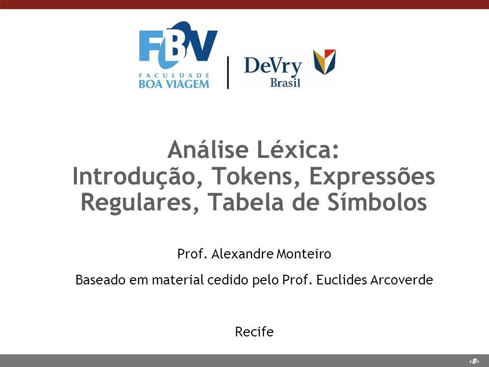 66 Análise Léxica: Introdução, Tokens, Expressões Regulares, Tabela de Símbolos Prof. Alexandre Monteiro Baseado em material cedido pelo Prof. Euclide
