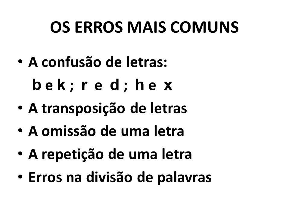 OS ERROS MAIS COMUNS A confusão de letras: b e k ; r e d ; h e x A transposição de letras A omissão de uma letra A repetição de uma letra Erros na div