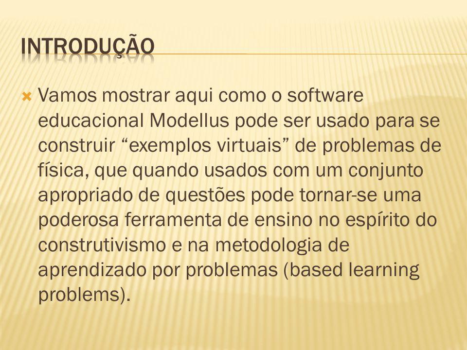 """ Vamos mostrar aqui como o software educacional Modellus pode ser usado para se construir """"exemplos virtuais"""" de problemas de física, que quando usad"""