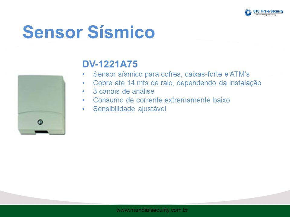 Sensor Sísmico DV-1221A75 Sensor sísmico para cofres, caixas-forte e ATM's Cobre ate 14 mts de raio, dependendo da instalação 3 canais de análise Consumo de corrente extremamente baixo Sensibilidade ajustável www.mundialsecurity.com.br